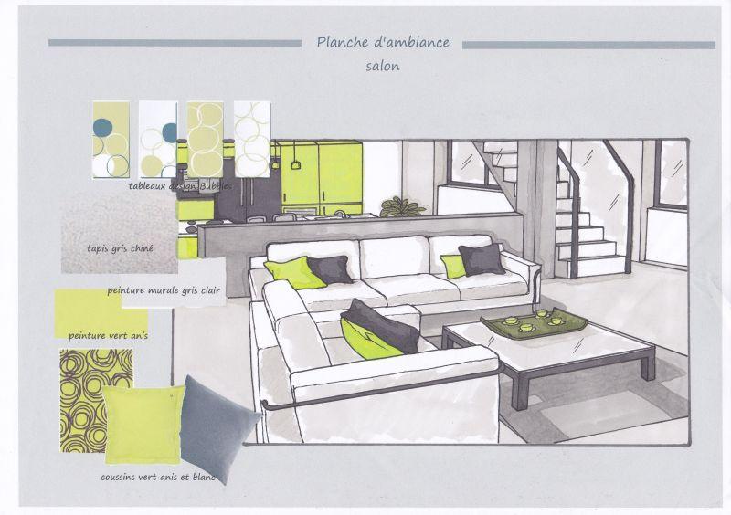 Dessin au pastel graphite et fusain am nagement d un studio avec mezzanine - Studio plan met mezzanine ...
