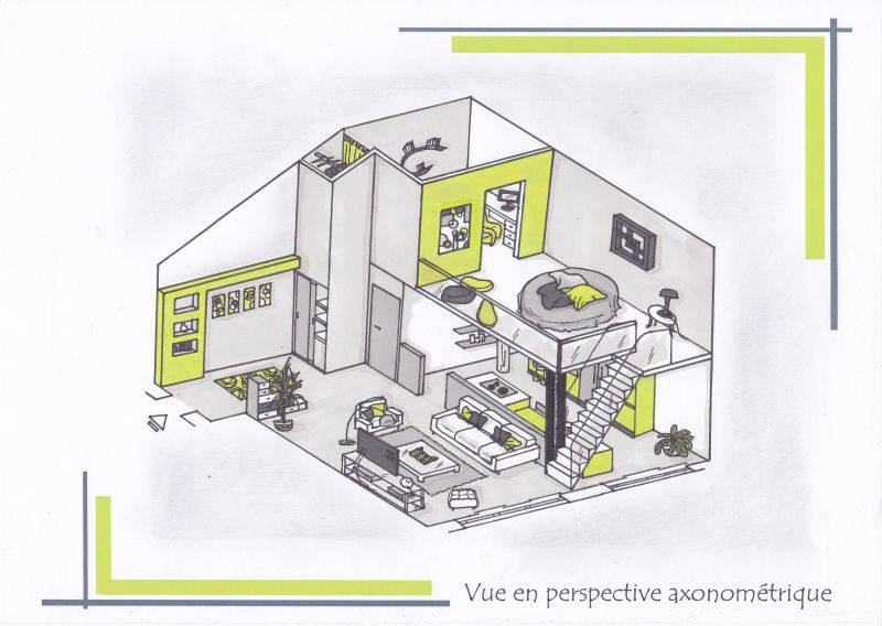 dessin au pastel graphite et fusain am nagement d un studio avec mezzanine. Black Bedroom Furniture Sets. Home Design Ideas